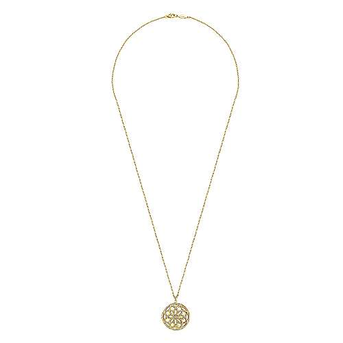 14k Yellow Gold Lusso Diamond Locket Necklace angle 4
