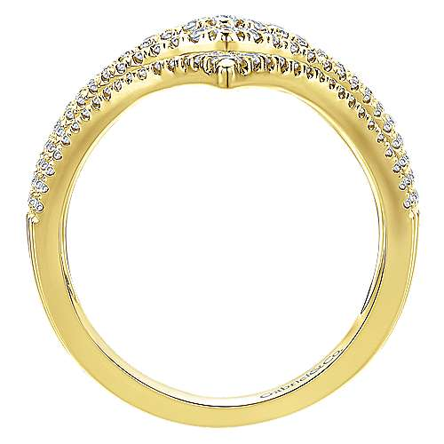 14k Yellow Gold Lusso Diamond Statement Ladies' Ring angle 2