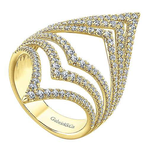 14k Yellow Gold Lusso Diamond Statement Ladies' Ring angle 3