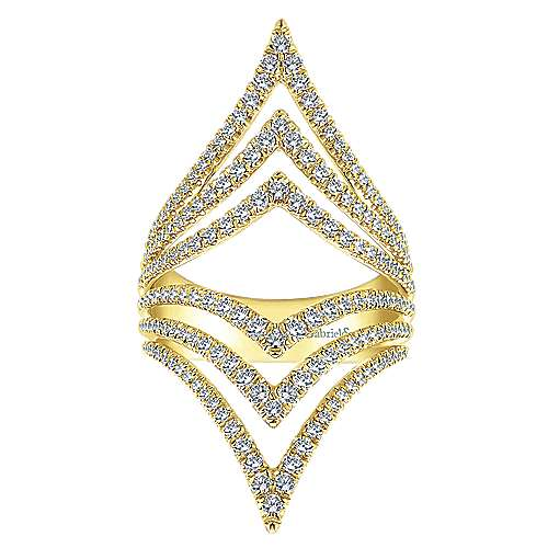 14k Yellow Gold Lusso Diamond Statement Ladies' Ring angle 4