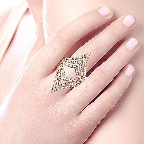 14k Yellow Gold Lusso Diamond Statement Ladies' Ring angle 5