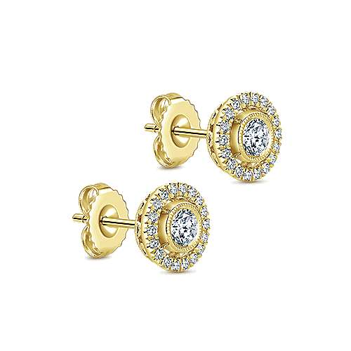 14k Yellow Gold Lusso Diamond Stud Earrings angle 2