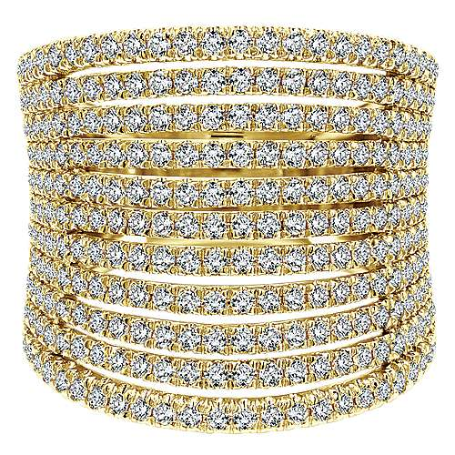 14k Yellow Gold Lusso Diamond Wide Band Ladies' Ring angle 1