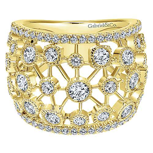 Gabriel - 14k Yellow Gold Lusso Diamond Wide Band Ladies' Ring