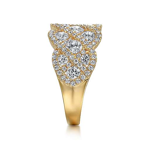 14k Yellow Gold Lusso Diamond Wide Band Ladies' Ring angle 4