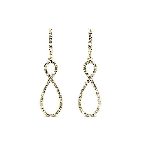 14k Yellow Gold Lusso Drop Earrings angle 1