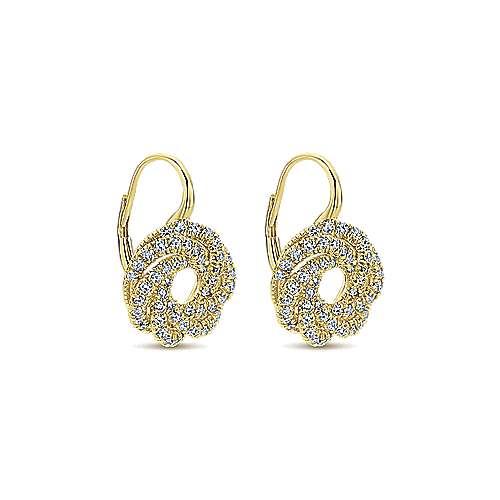 14k Yellow Gold Lusso Drop Earrings angle 2