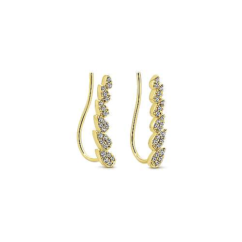 14k Yellow Gold Lusso Ear Climber Earrings angle 2