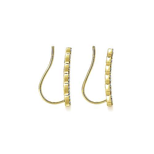 14k Yellow Gold Lusso Ear Climber Earrings angle 3