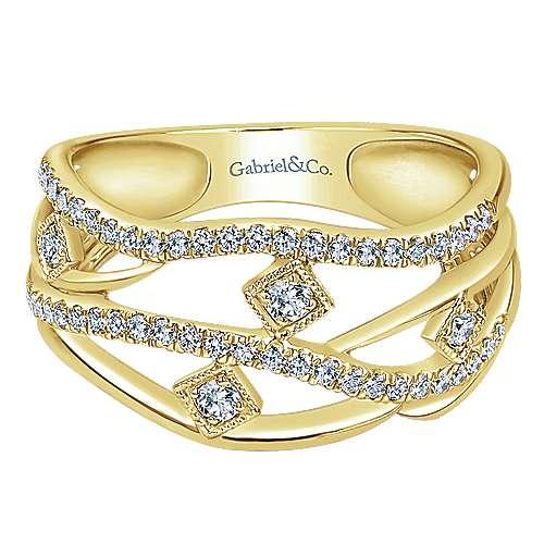 14k Yellow Gold Lusso Fashion Ladies Ring