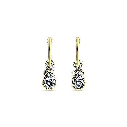 14k Yellow Gold Lusso Huggie Drop Earrings angle 1