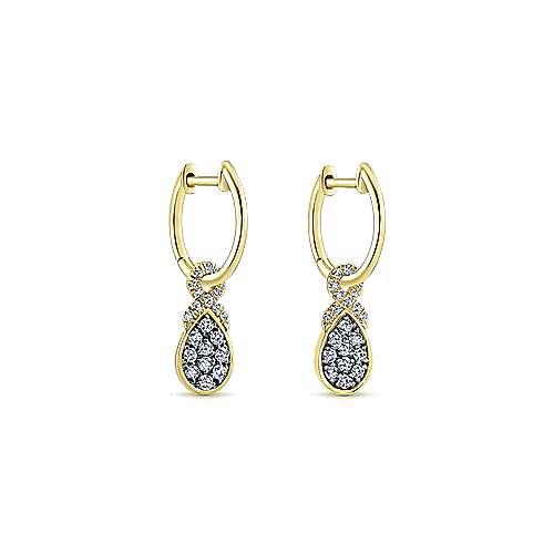 14k Yellow Gold Lusso Huggie Drop Earrings angle 2
