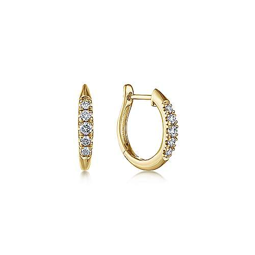 14k Yellow Gold Lusso Huggie Earrings angle 1