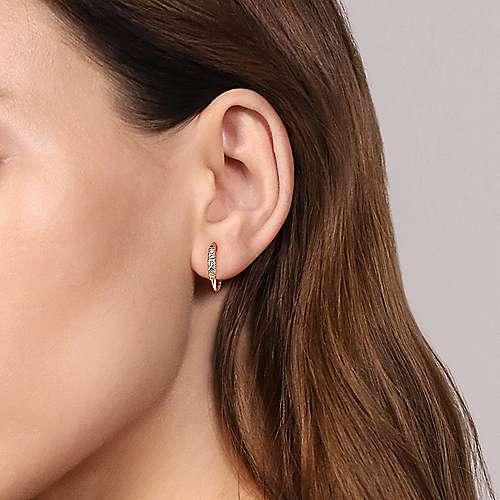 14k Yellow Gold Lusso Huggie Earrings angle 2