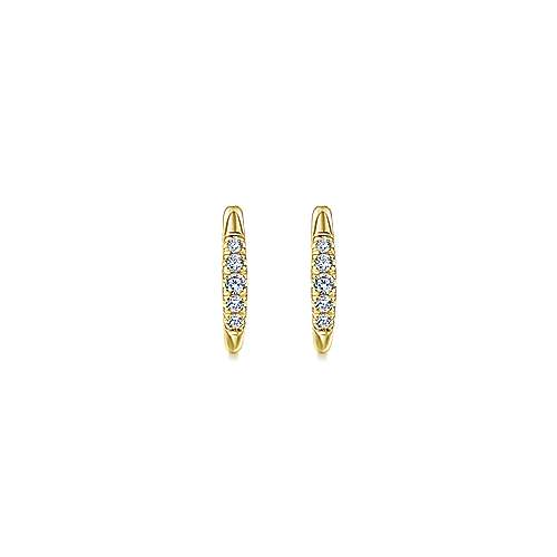 14k Yellow Gold Lusso Huggie Earrings angle 3