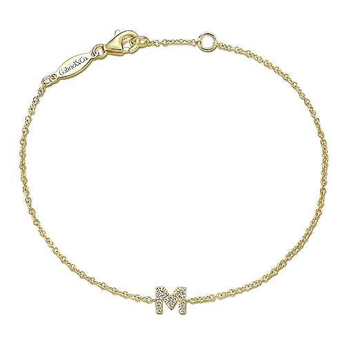 14k Yellow Gold Lusso Initial Bracelet angle 1