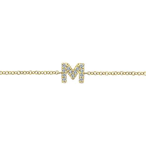 14k Yellow Gold Lusso Initial Bracelet angle 2