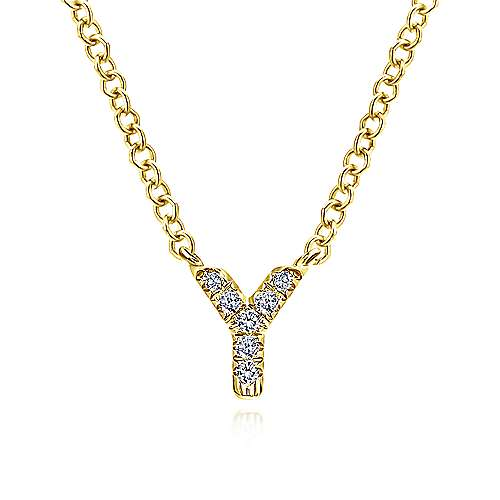 14k Yellow Gold Lusso Initial Necklace angle 1