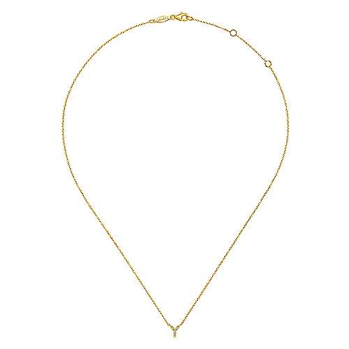14k Yellow Gold Lusso Initial Necklace angle 2