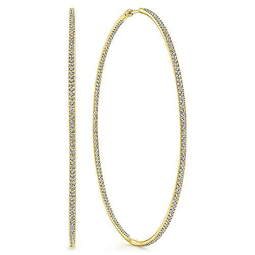 14k Yellow Gold Lusso Inside Out Diamond Hoop Earrings