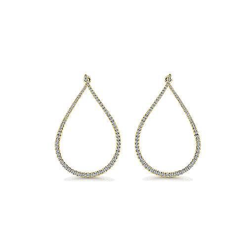 14k Yellow Gold Lusso Intricate Hoop Earrings