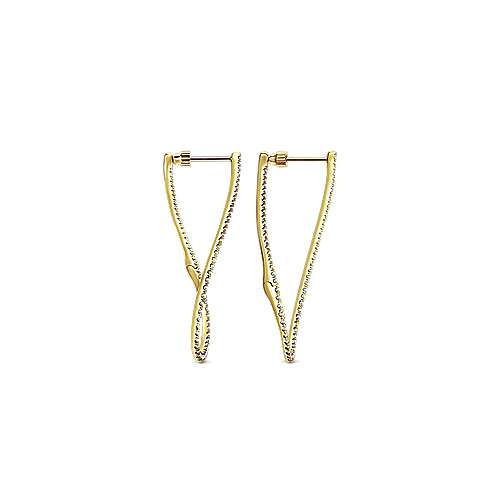 14k Yellow Gold Lusso Intricate Hoop Earrings angle 2