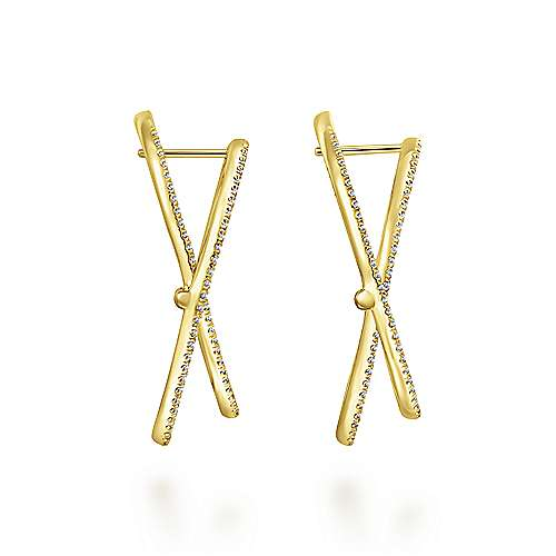 14k Yellow Gold Lusso Intricate Hoop Earrings angle 3