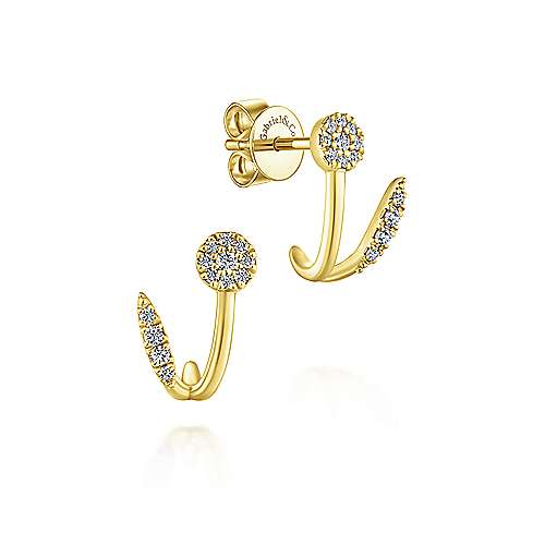 14k Yellow Gold Lusso J Curve Earrings angle 1