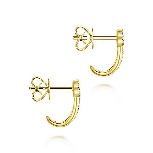 14k Yellow Gold Lusso J Curve Earrings angle 3