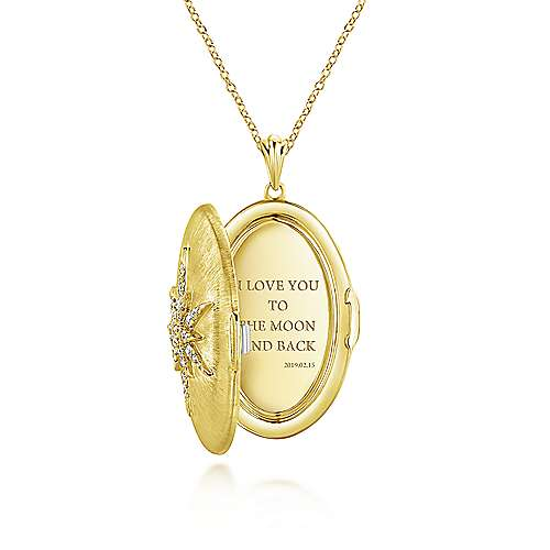 14k Yellow Gold Lusso Locket Necklace angle 3