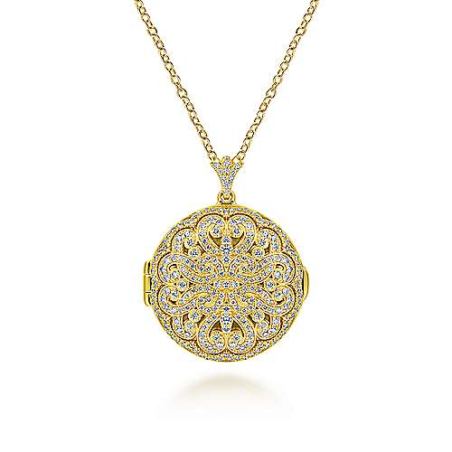 14k Yellow Gold Lusso Locket Necklace angle 1