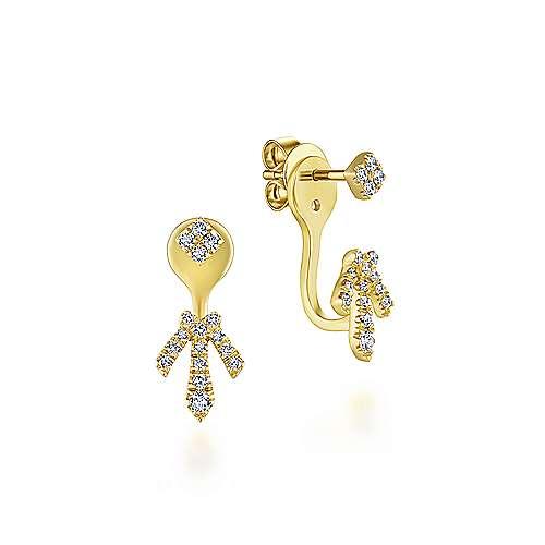 14k Yellow Gold Lusso Peek A Boo Earrings angle 1