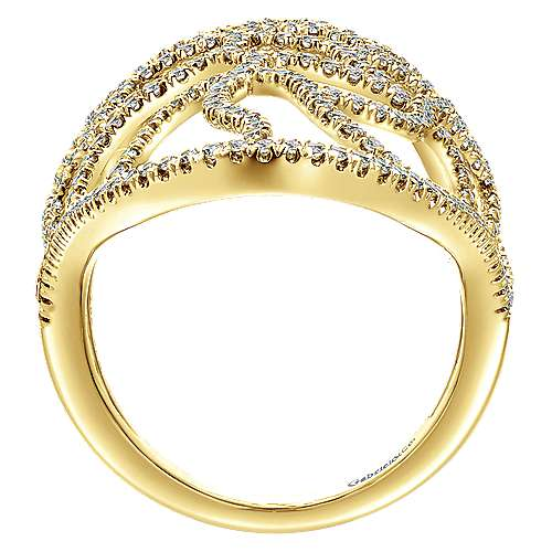 14k Yellow Gold Lusso Statement Ladies' Ring angle 2