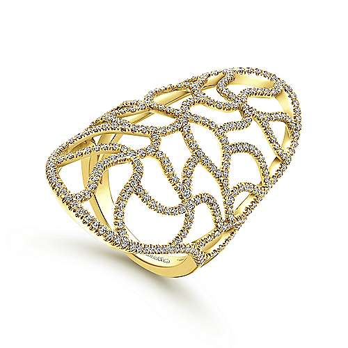 14k Yellow Gold Lusso Statement Ladies' Ring angle 3