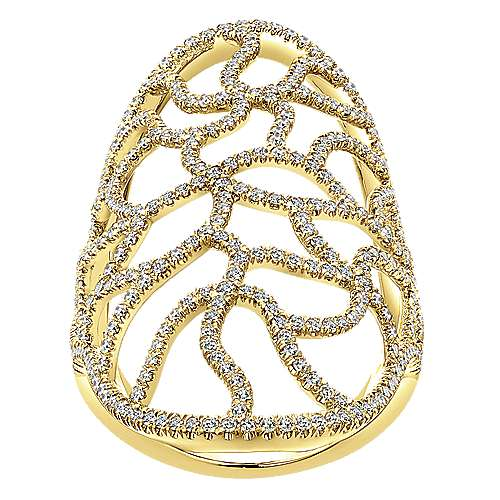 14k Yellow Gold Lusso Statement Ladies' Ring angle 4