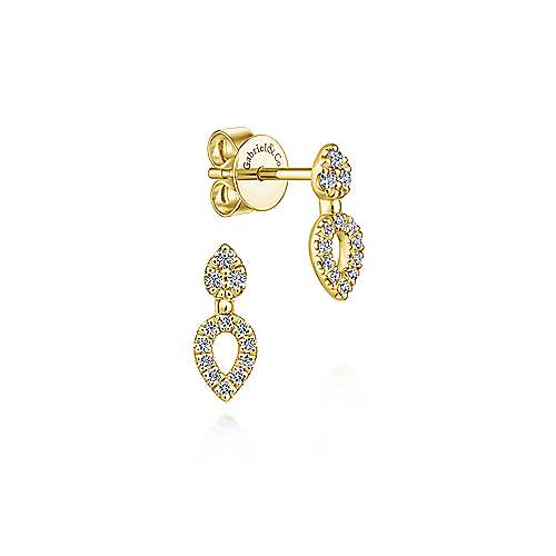 14k Yellow Gold Lusso Stud Earrings angle 1
