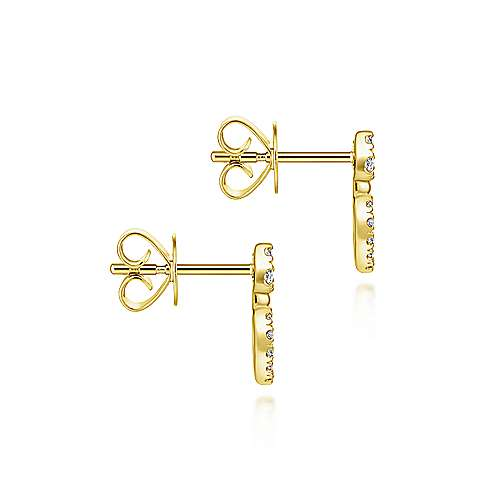 14k Yellow Gold Lusso Stud Earrings angle 3