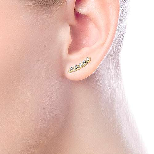 14k Yellow Gold Lusso Stud Earrings angle 2