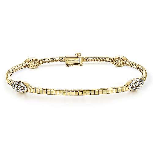 14k Yellow Gold Lusso Tennis Bracelet angle 1