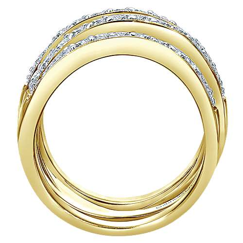 14k Yellow Gold Lusso Twisted Ladies' Ring angle 2