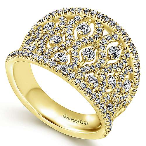 14k Yellow Gold Lusso Wide Band Ladies' Ring angle 3