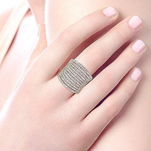 14k Yellow Gold Lusso Wide Band Ladies' Ring angle 5
