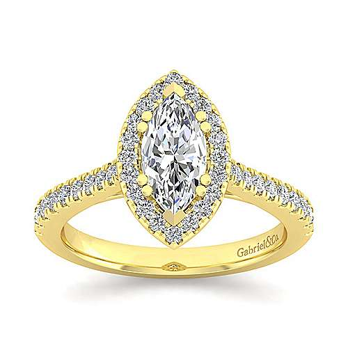 14k Yellow Gold Marquise  Halo Engagement Ring angle 5
