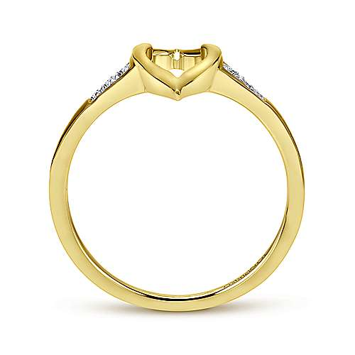 14k Yellow Gold Midi Ladies' Ring angle 2