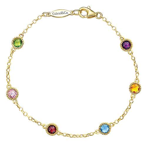 14k Yellow Gold Multi Color Stones Chain Bracelet angle 1