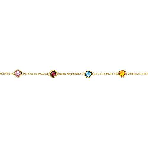 14k Yellow Gold Multi Color Stones Chain Bracelet angle 2
