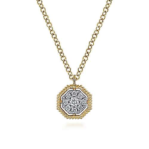 Gabriel - 14k Yellow Gold Octagonal Pave Diamond Pendant Necklace