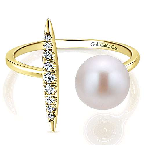 14k Yellow Gold Open Cultured Pearl & Diamond Bar Ladies Fashion Ring