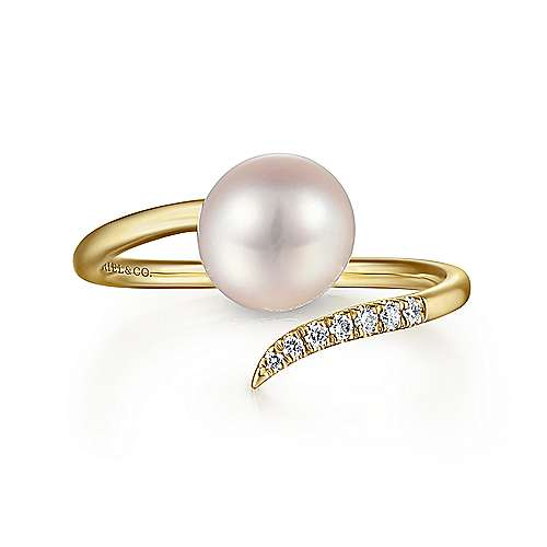 14k Yellow Gold Open Cultured Pearl & Diamond Ladies Wrap Ring