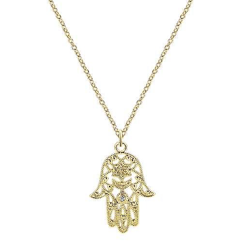 14k Yellow Gold Openwork Round Diamond Hamsa Necklace